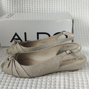 Genuine Leather Aldo Peep Toe Slingback Wedges